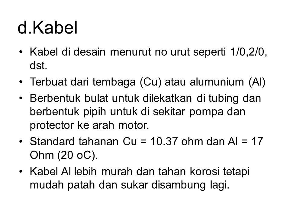 d.Kabel Kabel di desain menurut no urut seperti 1/0,2/0, dst.