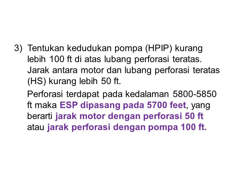 Tentukan kedudukan pompa (HPIP) kurang lebih 100 ft di atas lubang perforasi teratas. Jarak antara motor dan lubang perforasi teratas (HS) kurang lebih 50 ft.