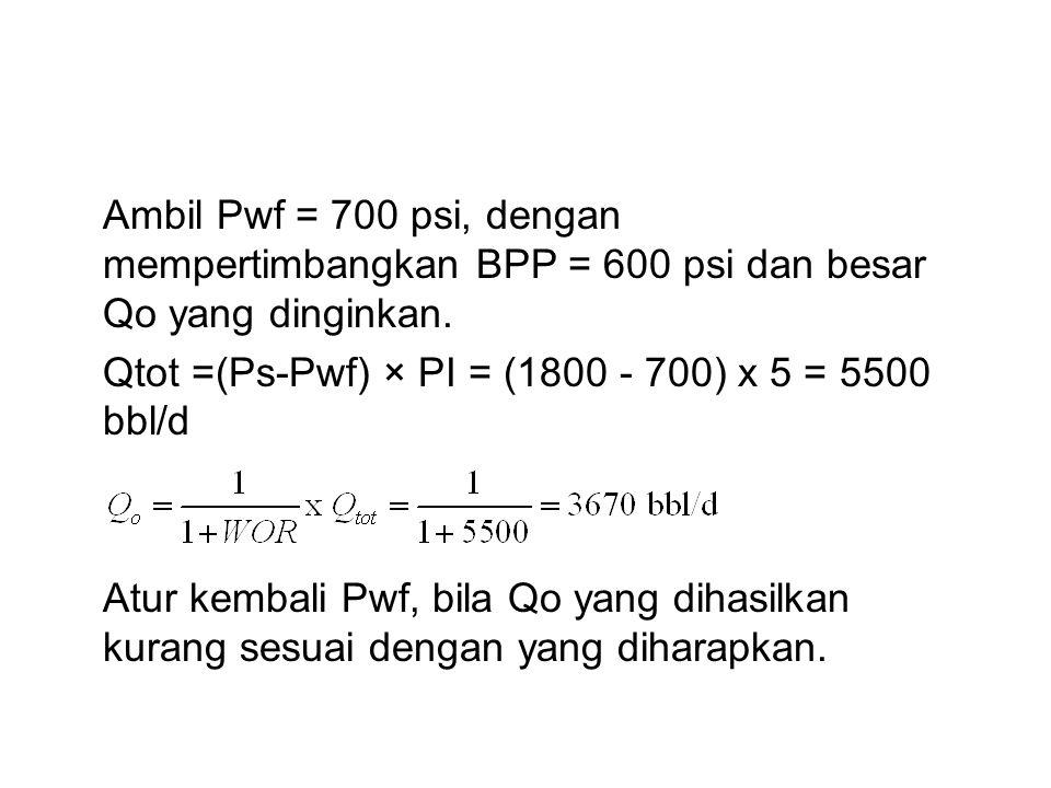 Ambil Pwf = 700 psi, dengan mempertimbangkan BPP = 600 psi dan besar Qo yang dinginkan.