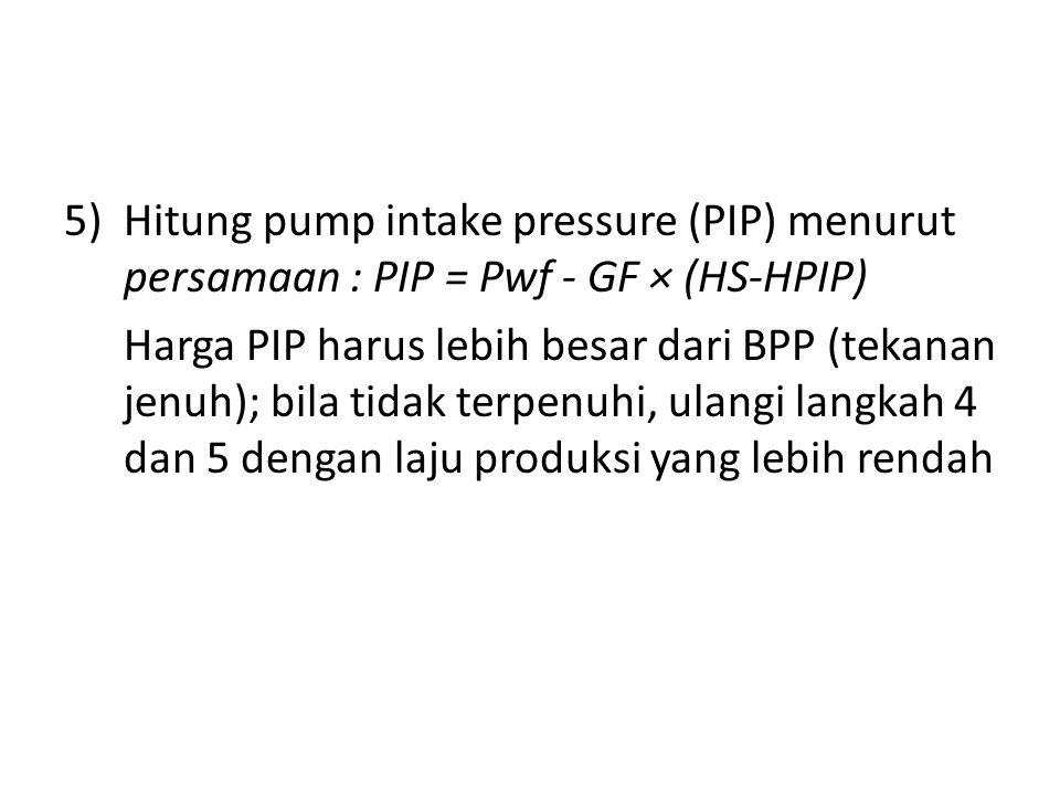 Hitung pump intake pressure (PIP) menurut persamaan : PIP = Pwf - GF × (HS-HPIP)