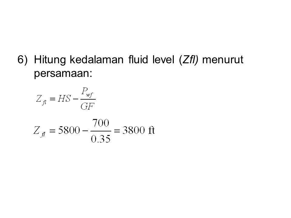 Hitung kedalaman fluid level (Zfl) menurut persamaan: