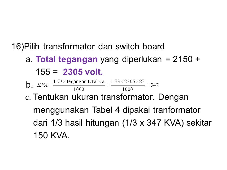 Pilih transformator dan switch board