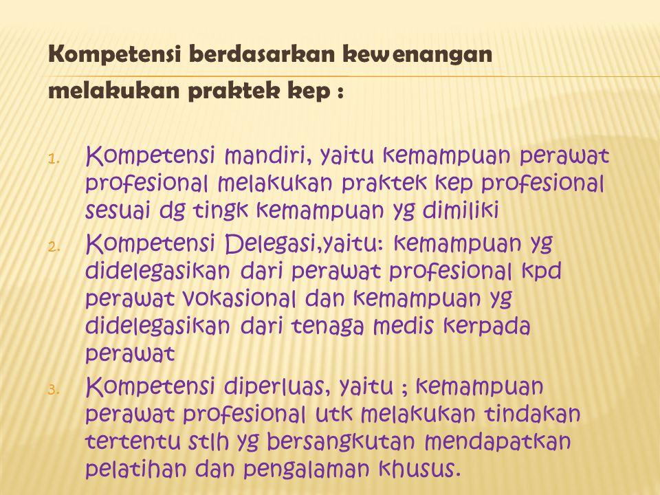 Kompetensi berdasarkan kewenangan melakukan praktek kep :