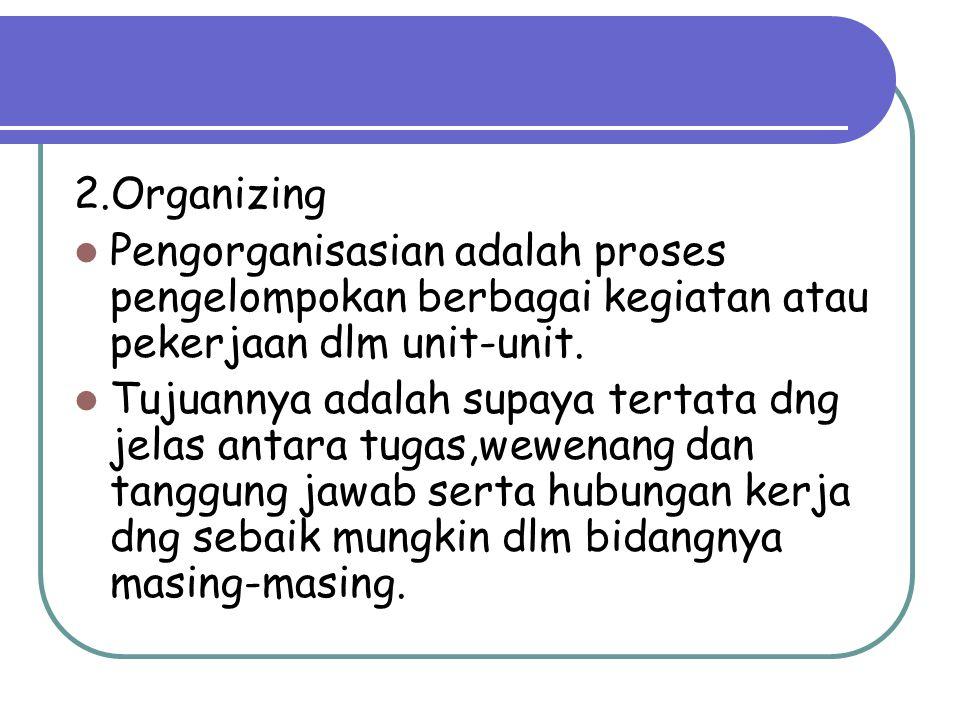 2.Organizing Pengorganisasian adalah proses pengelompokan berbagai kegiatan atau pekerjaan dlm unit-unit.