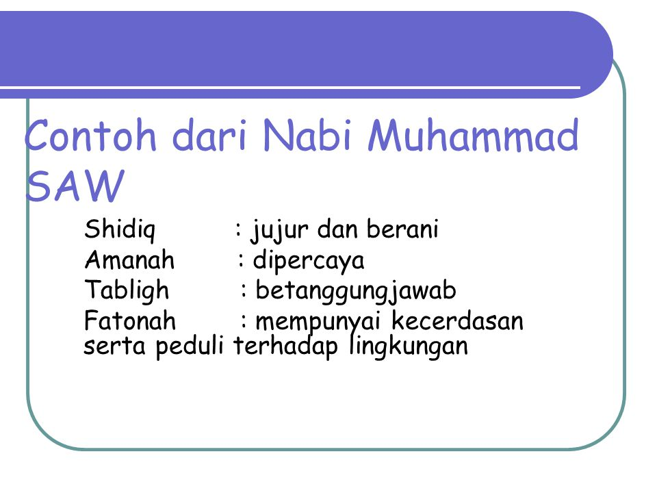 Contoh dari Nabi Muhammad SAW