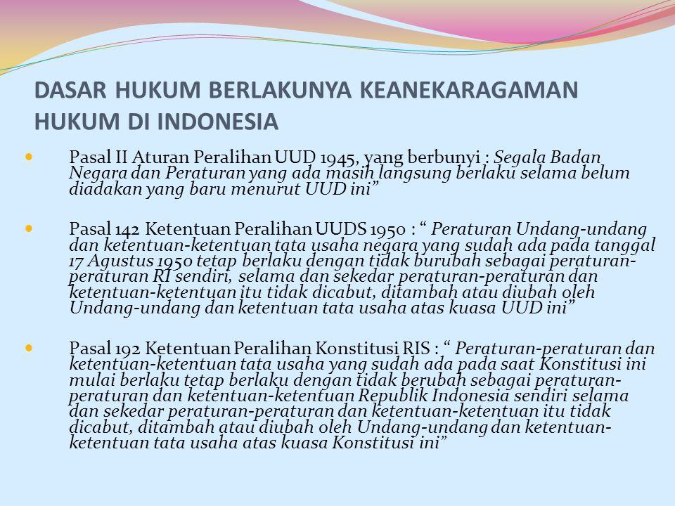 DASAR HUKUM BERLAKUNYA KEANEKARAGAMAN HUKUM DI INDONESIA