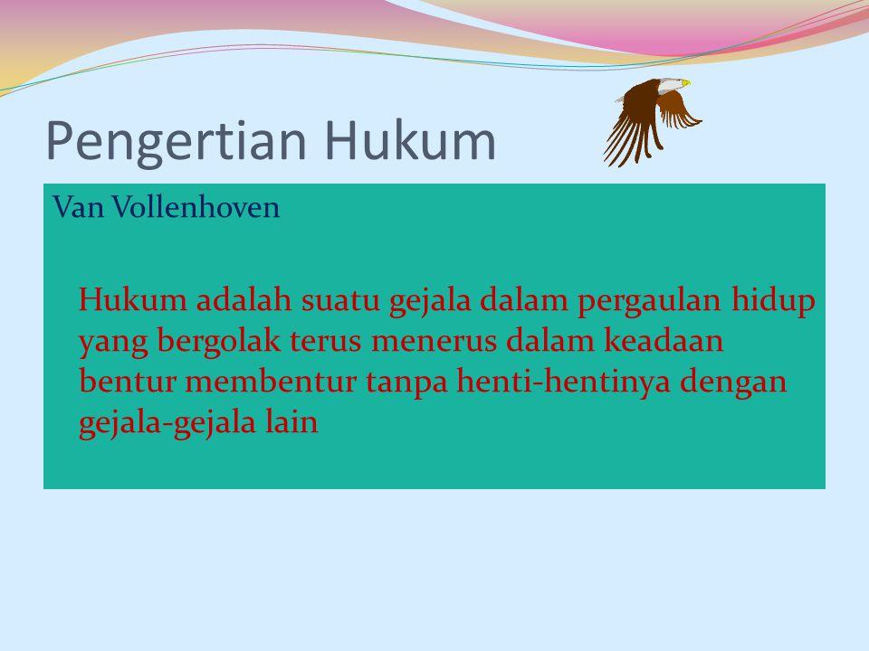 Pengertian Hukum Van Vollenhoven.