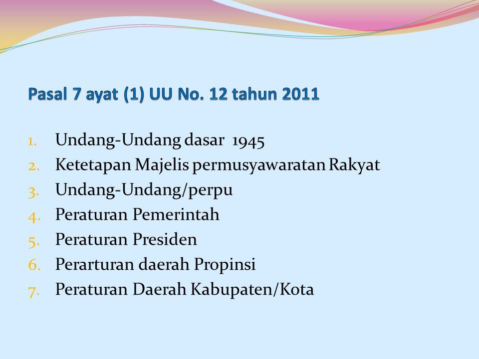 Pasal 7 ayat (1) UU No. 12 tahun 2011