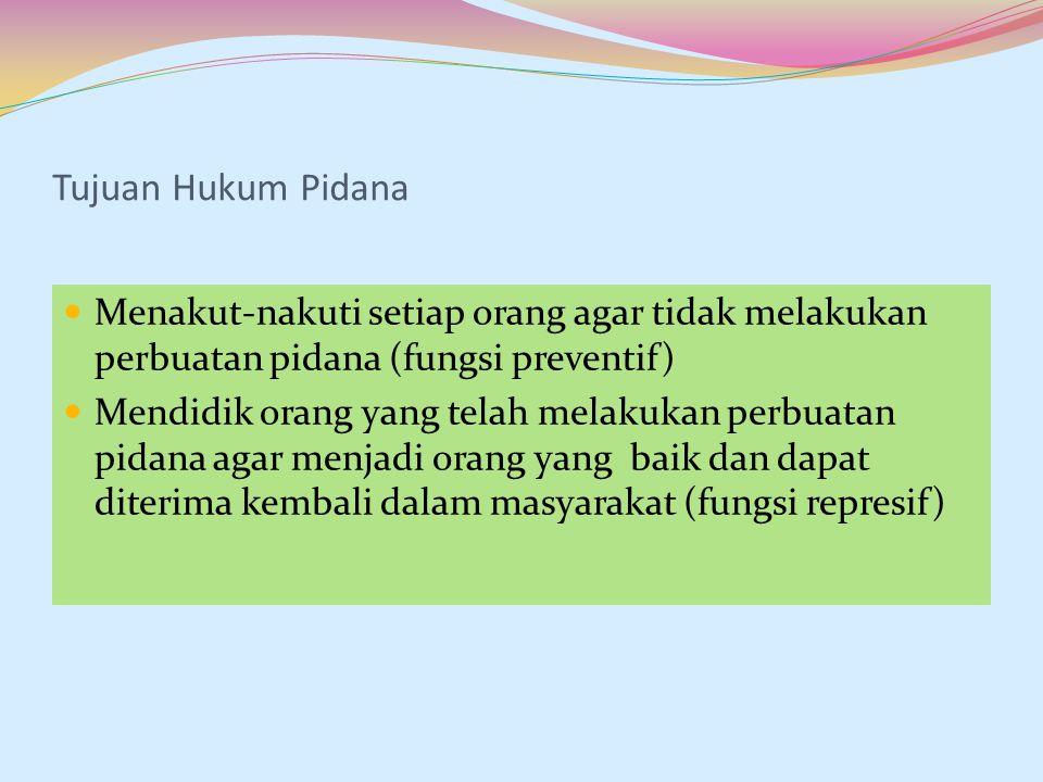 Tujuan Hukum Pidana Menakut-nakuti setiap orang agar tidak melakukan perbuatan pidana (fungsi preventif)