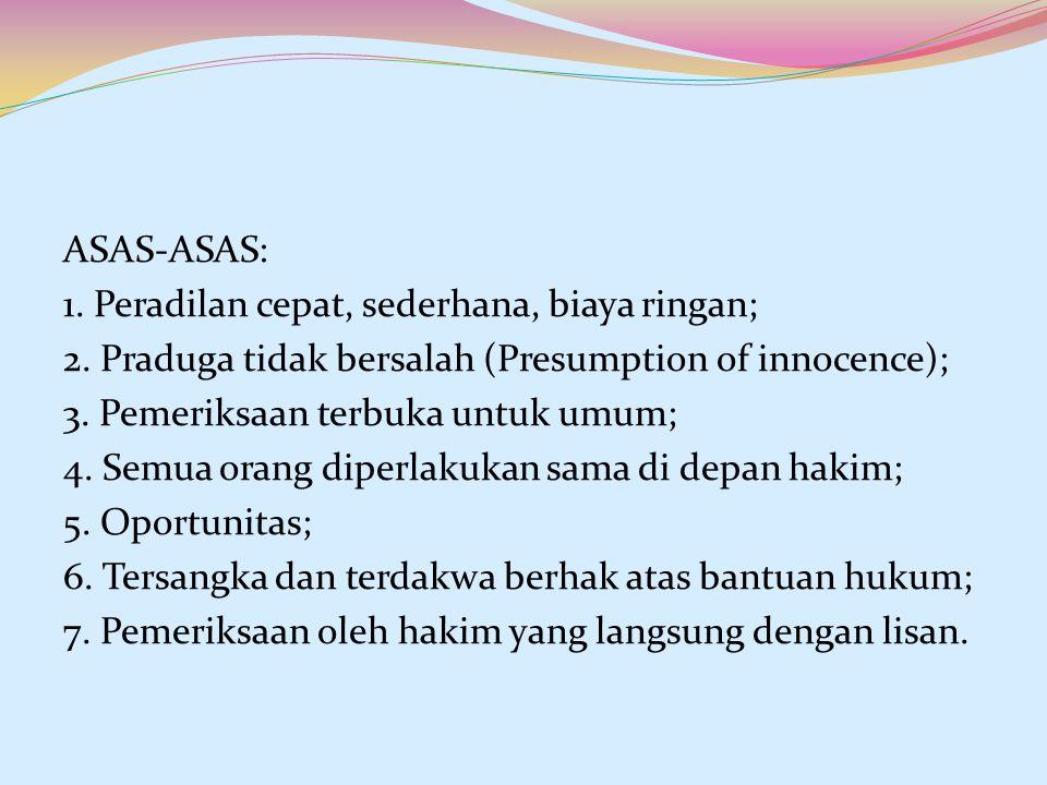 ASAS-ASAS: 1. Peradilan cepat, sederhana, biaya ringan; 2