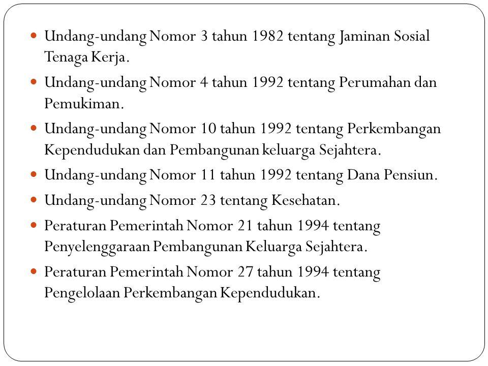 Undang-undang Nomor 3 tahun 1982 tentang Jaminan Sosial Tenaga Kerja.