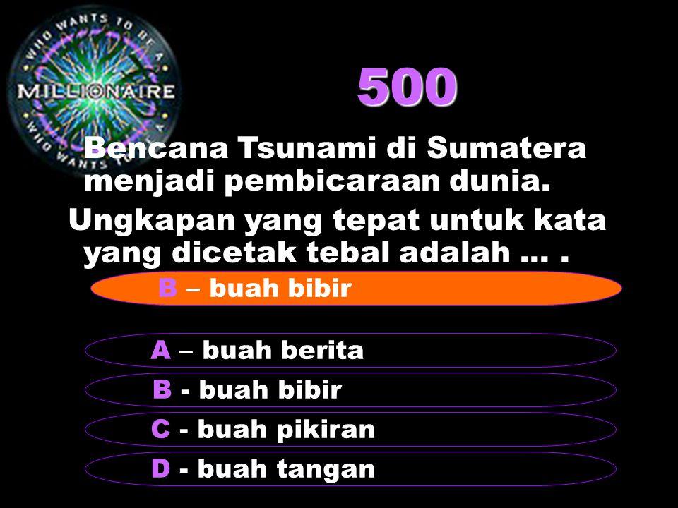 500 Bencana Tsunami di Sumatera menjadi pembicaraan dunia.