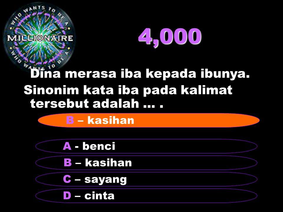 4,000 Dina merasa iba kepada ibunya.