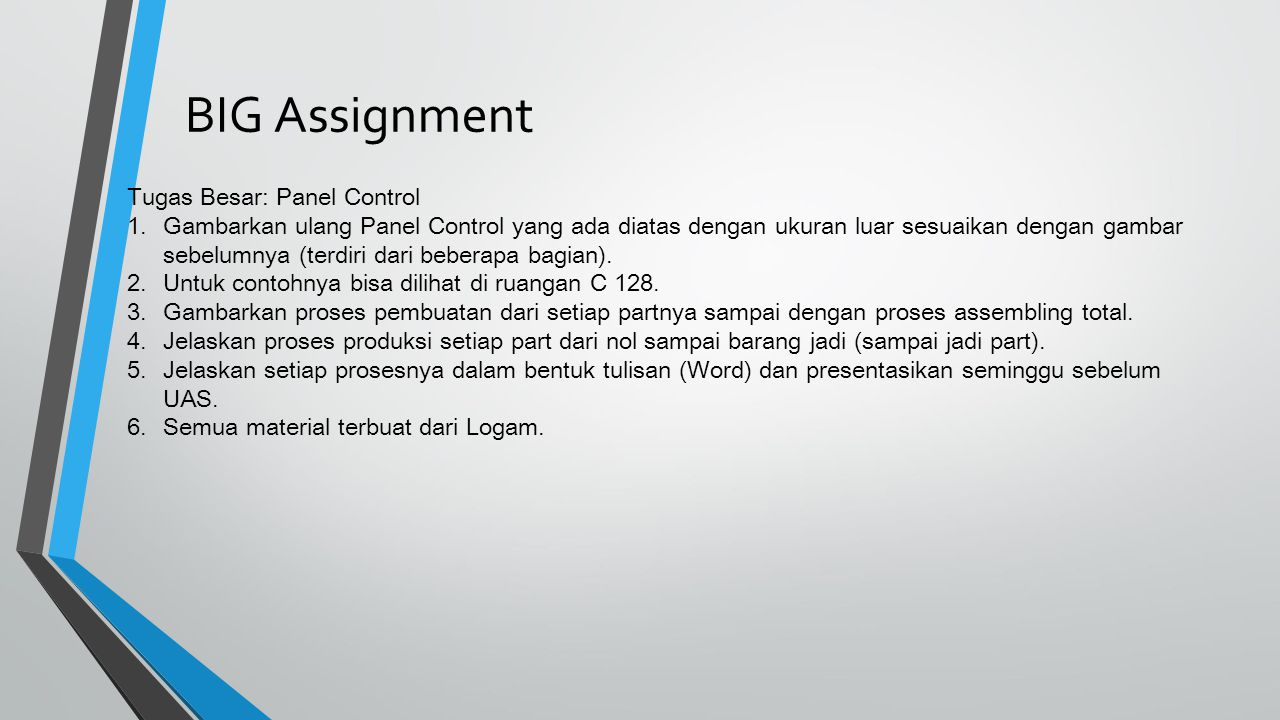 BIG Assignment Tugas Besar: Panel Control