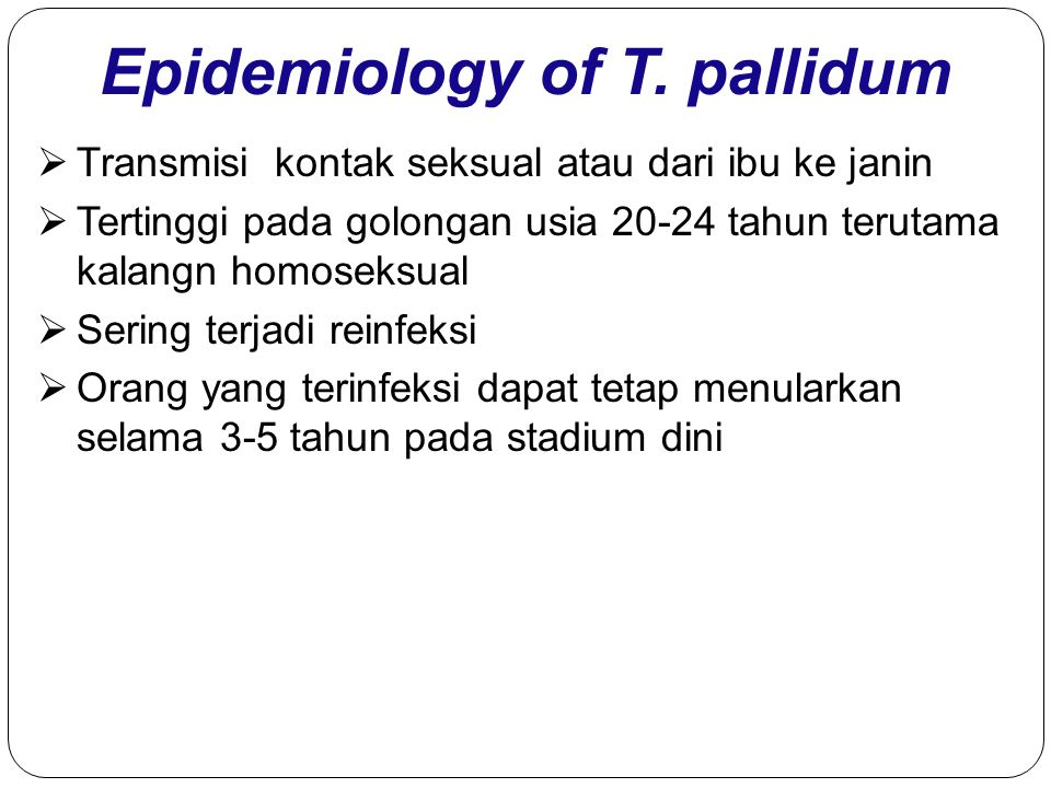 Epidemiology of T. pallidum