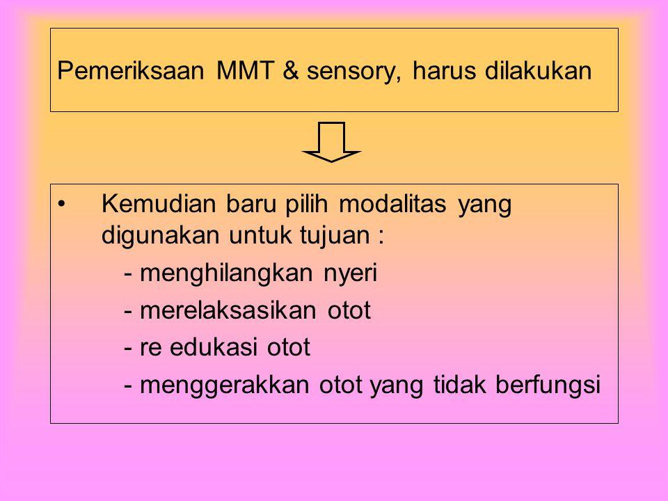 Pemeriksaan MMT & sensory, harus dilakukan