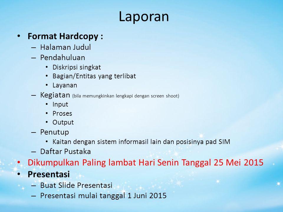 Laporan Format Hardcopy :
