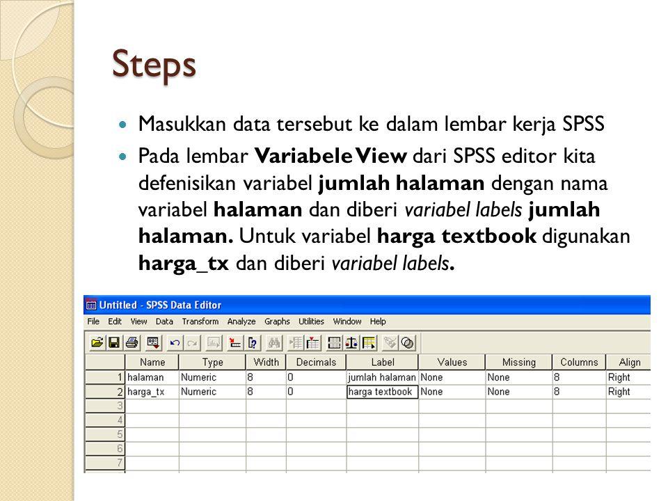 Steps Masukkan data tersebut ke dalam lembar kerja SPSS