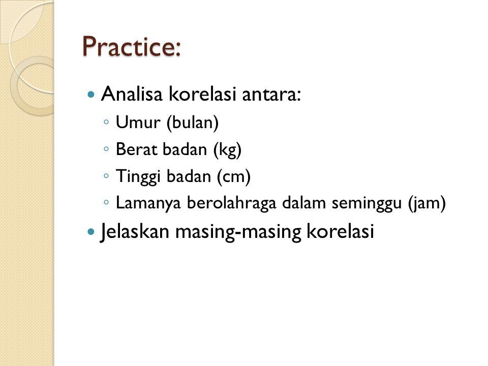 Practice: Analisa korelasi antara: Jelaskan masing-masing korelasi