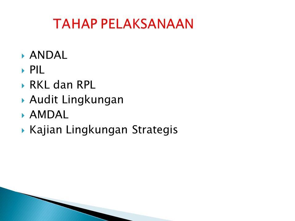 TAHAP PELAKSANAAN ANDAL PIL RKL dan RPL Audit Lingkungan AMDAL
