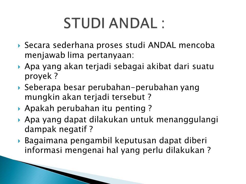 STUDI ANDAL : Secara sederhana proses studi ANDAL mencoba menjawab lima pertanyaan: Apa yang akan terjadi sebagai akibat dari suatu proyek