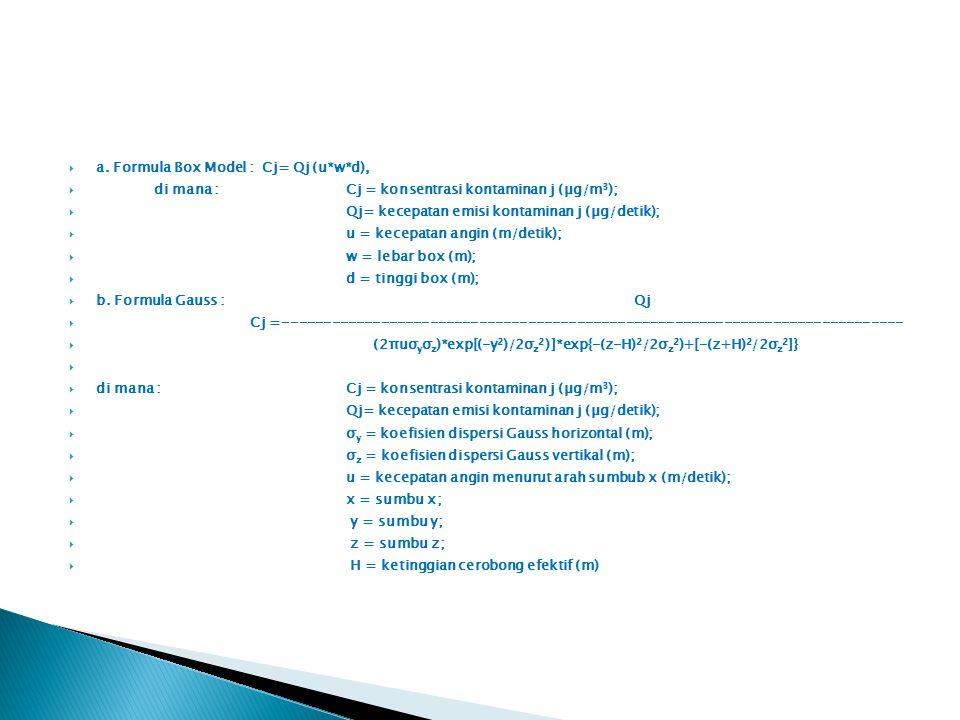 a. Formula Box Model : Cj= Qj (u*w*d),