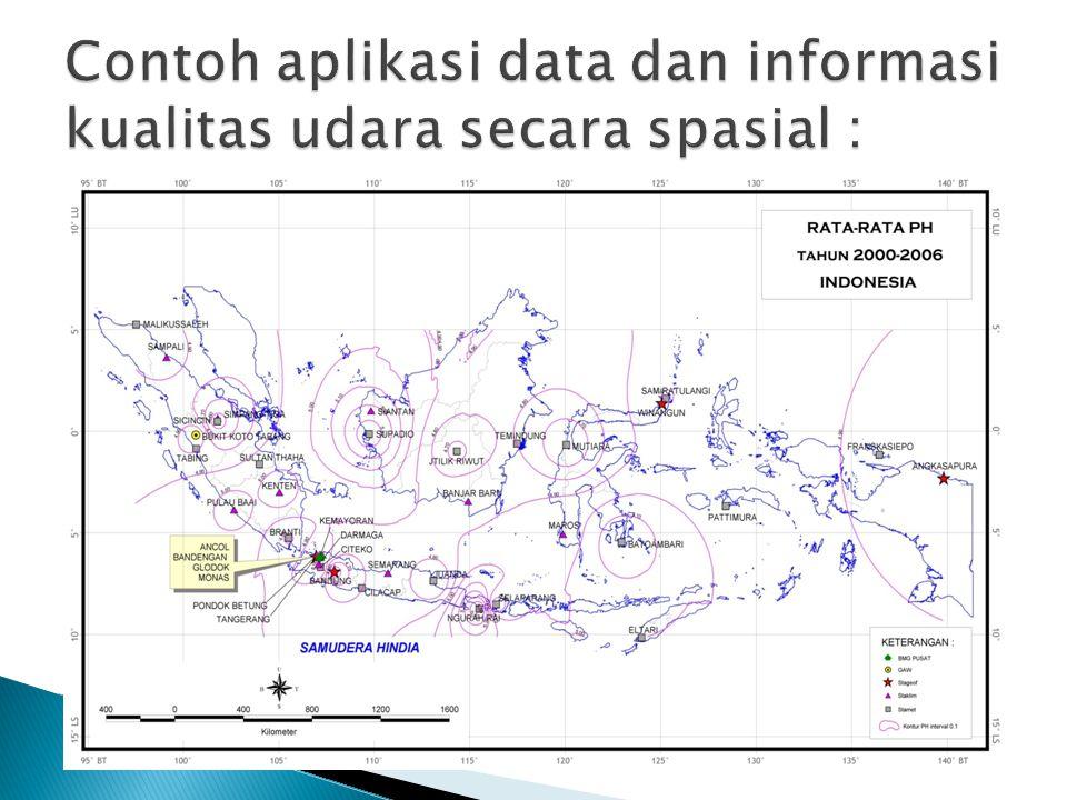 Contoh aplikasi data dan informasi kualitas udara secara spasial :