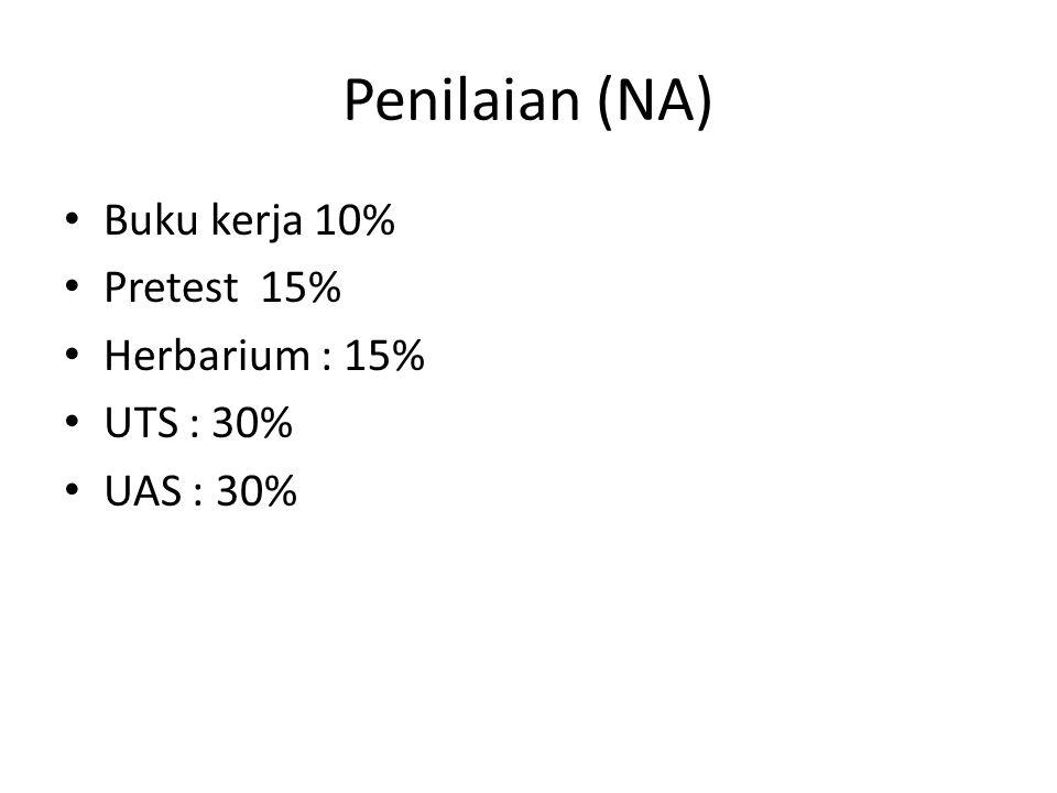 Penilaian (NA) Buku kerja 10% Pretest 15% Herbarium : 15% UTS : 30%