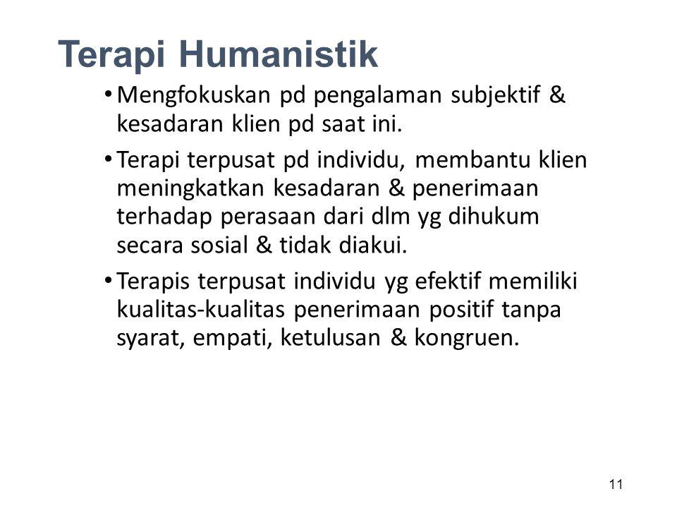 Terapi Humanistik Mengfokuskan pd pengalaman subjektif & kesadaran klien pd saat ini.