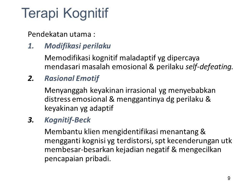 Terapi Kognitif Pendekatan utama : Modifikasi perilaku