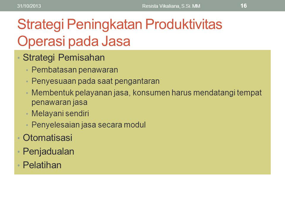 Strategi Peningkatan Produktivitas Operasi pada Jasa