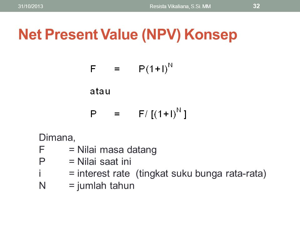 Net Present Value (NPV) Konsep