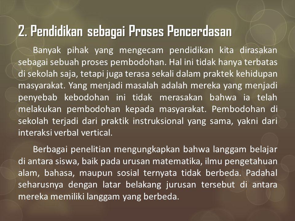 2. Pendidikan sebagai Proses Pencerdasan