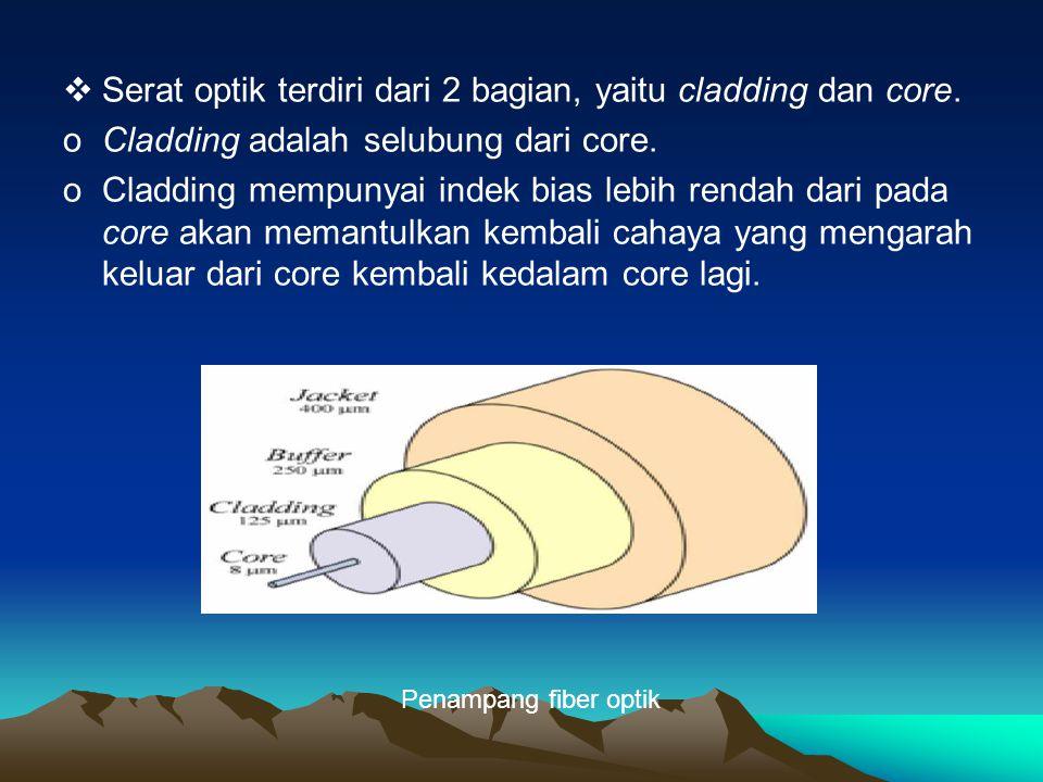 Serat optik terdiri dari 2 bagian, yaitu cladding dan core.