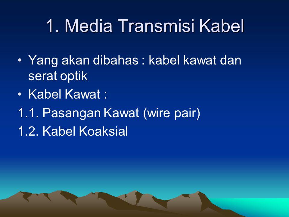 1. Media Transmisi Kabel Yang akan dibahas : kabel kawat dan serat optik. Kabel Kawat : 1.1. Pasangan Kawat (wire pair)
