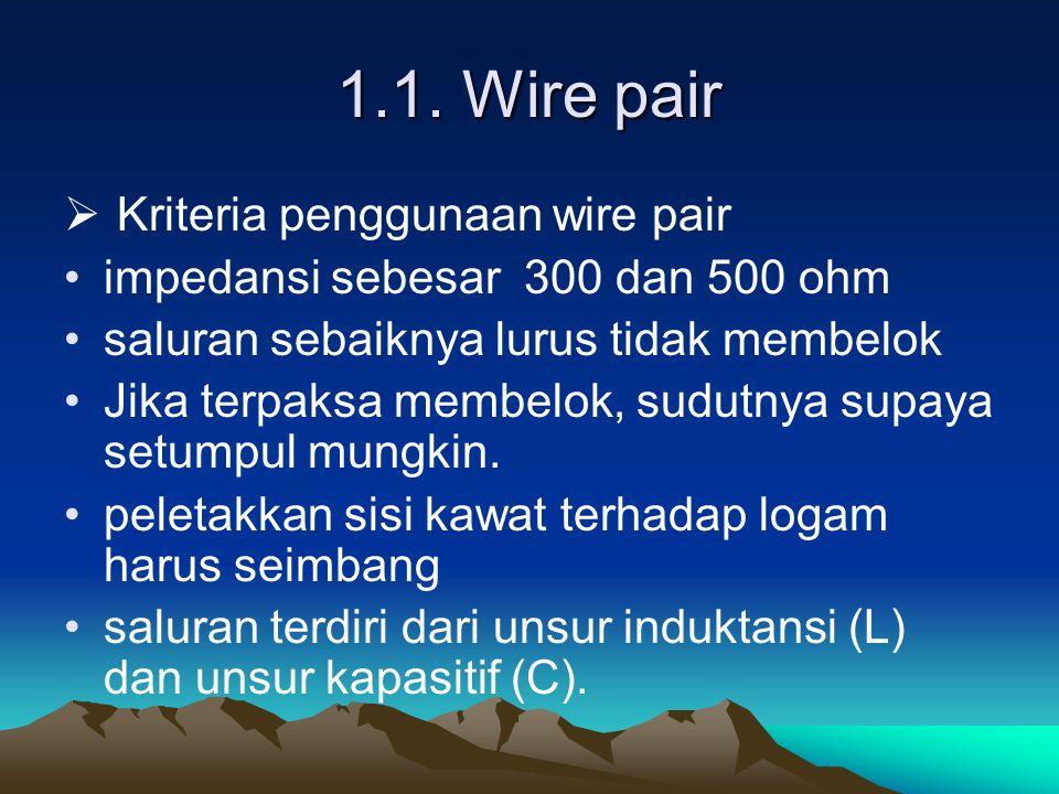 1.1. Wire pair Kriteria penggunaan wire pair