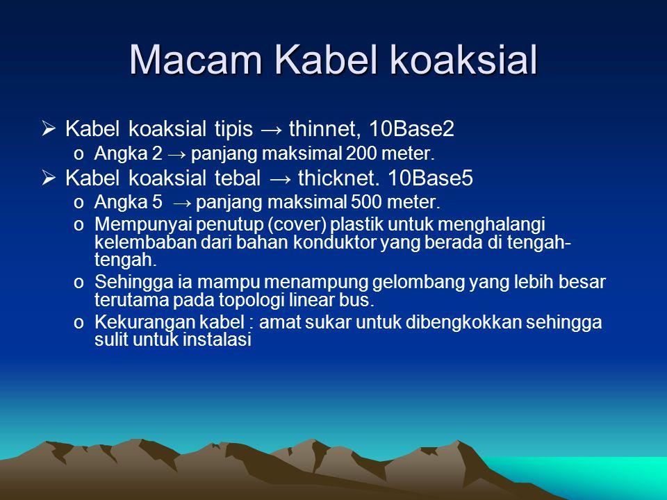 Macam Kabel koaksial Kabel koaksial tipis → thinnet, 10Base2