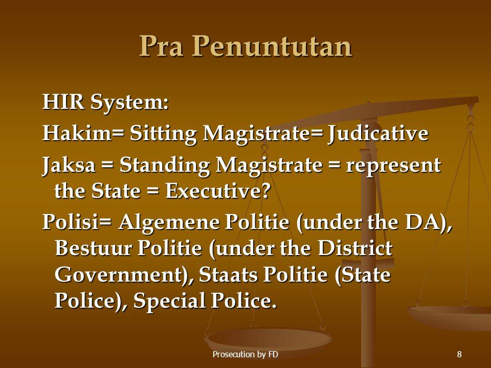 Pra Penuntutan HIR System: Hakim= Sitting Magistrate= Judicative