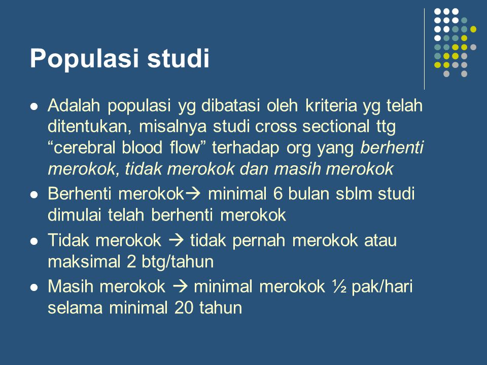 Populasi studi