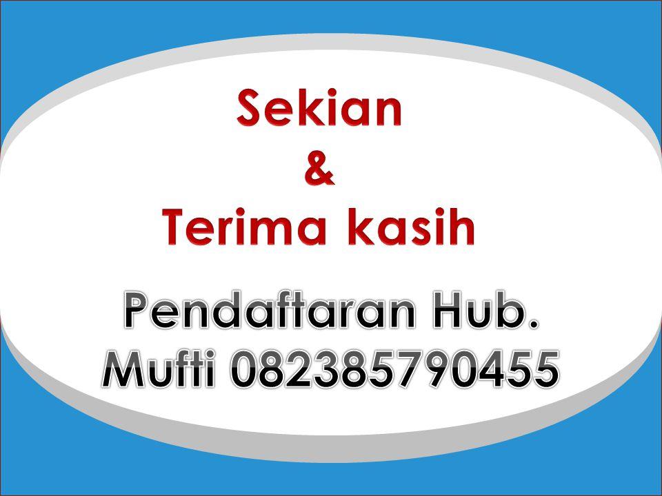 Sekian & Terima kasih Pendaftaran Hub. Mufti 082385790455