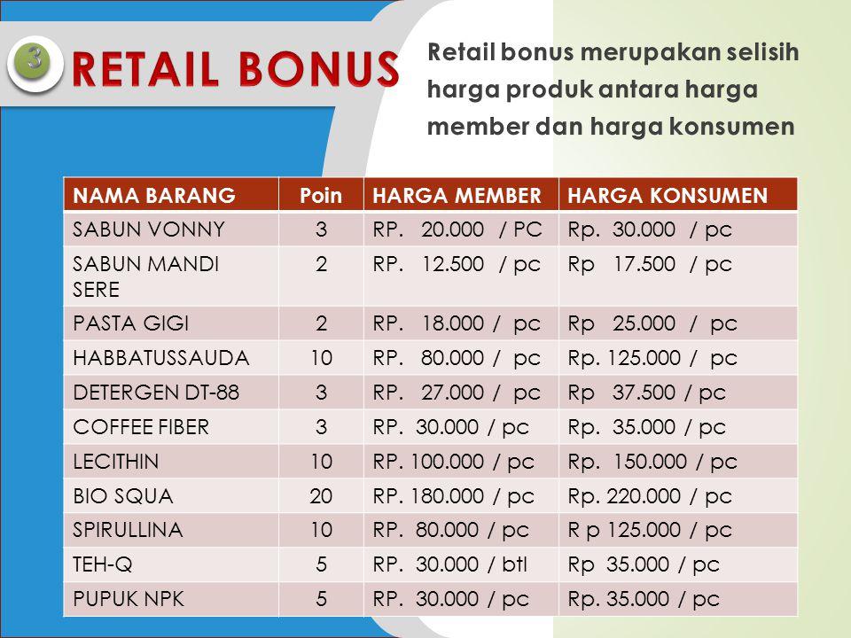 3 RETAIL BONUS. Retail bonus merupakan selisih harga produk antara harga member dan harga konsumen