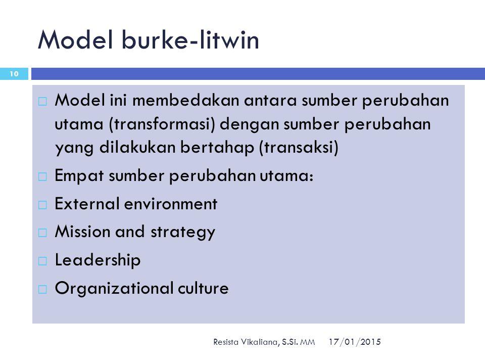Model burke-litwin Model ini membedakan antara sumber perubahan utama (transformasi) dengan sumber perubahan yang dilakukan bertahap (transaksi)