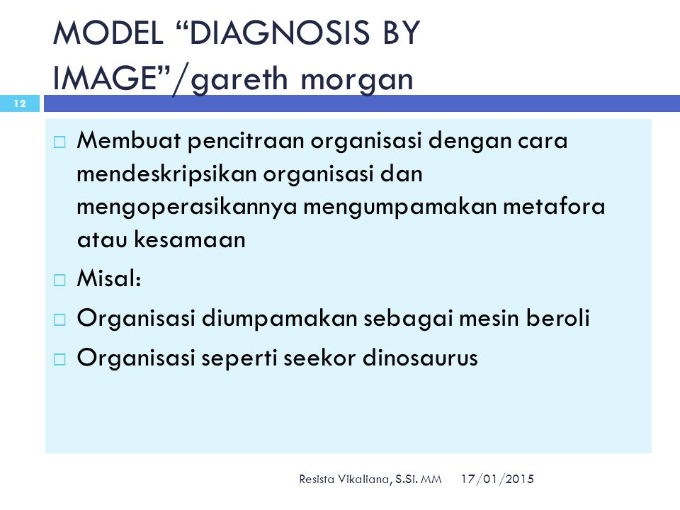 MODEL DIAGNOSIS BY IMAGE /gareth morgan