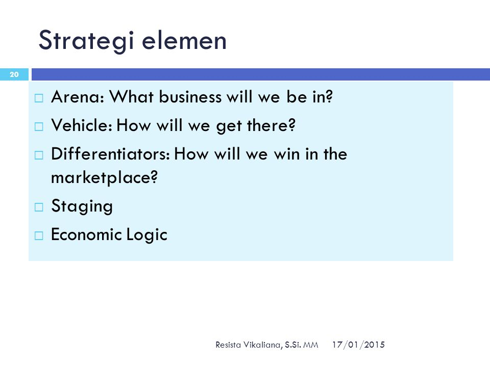 Strategi elemen Arena: What business will we be in