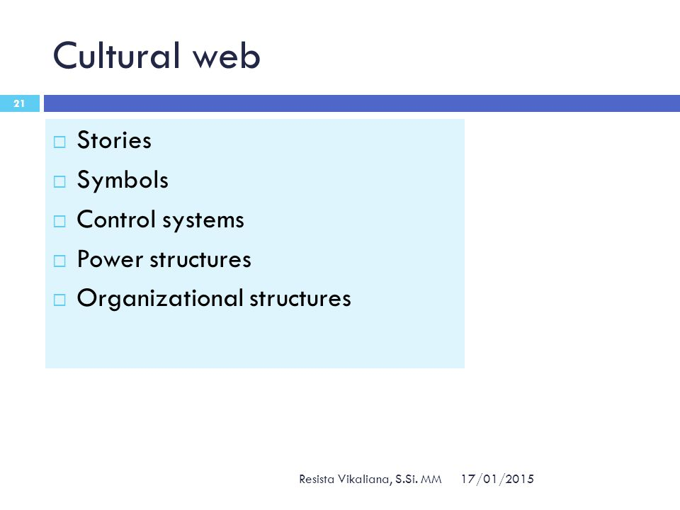 Cultural web Stories Symbols Control systems Power structures