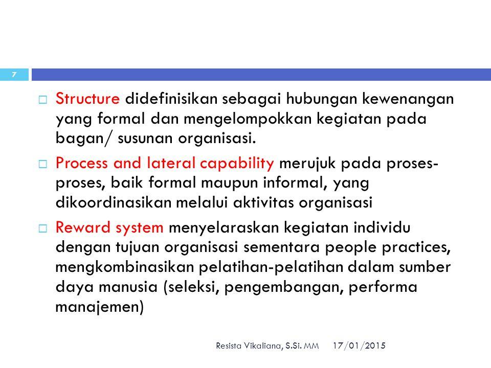 Structure didefinisikan sebagai hubungan kewenangan yang formal dan mengelompokkan kegiatan pada bagan/ susunan organisasi.