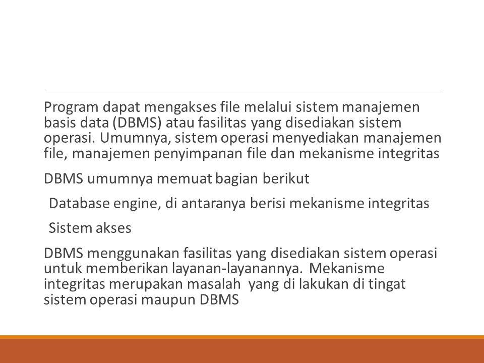 Program dapat mengakses file melalui sistem manajemen basis data (DBMS) atau fasilitas yang disediakan sistem operasi. Umumnya, sistem operasi menyediakan manajemen file, manajemen penyimpanan file dan mekanisme integritas