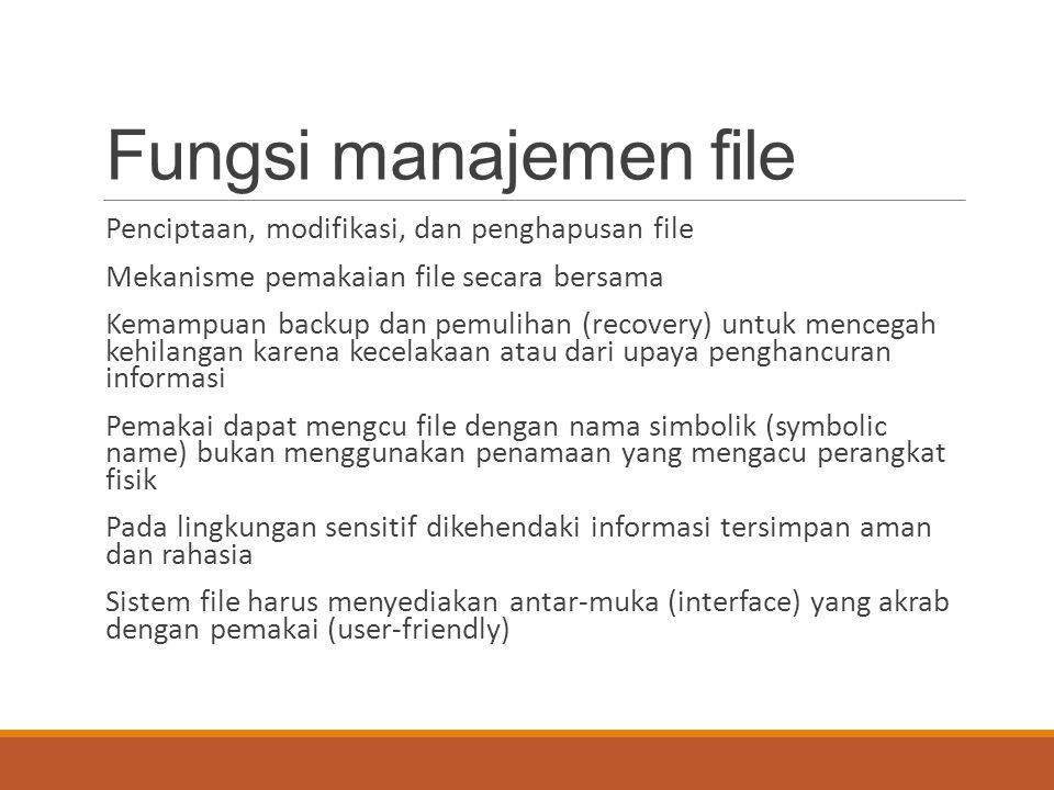 Fungsi manajemen file Penciptaan, modifikasi, dan penghapusan file