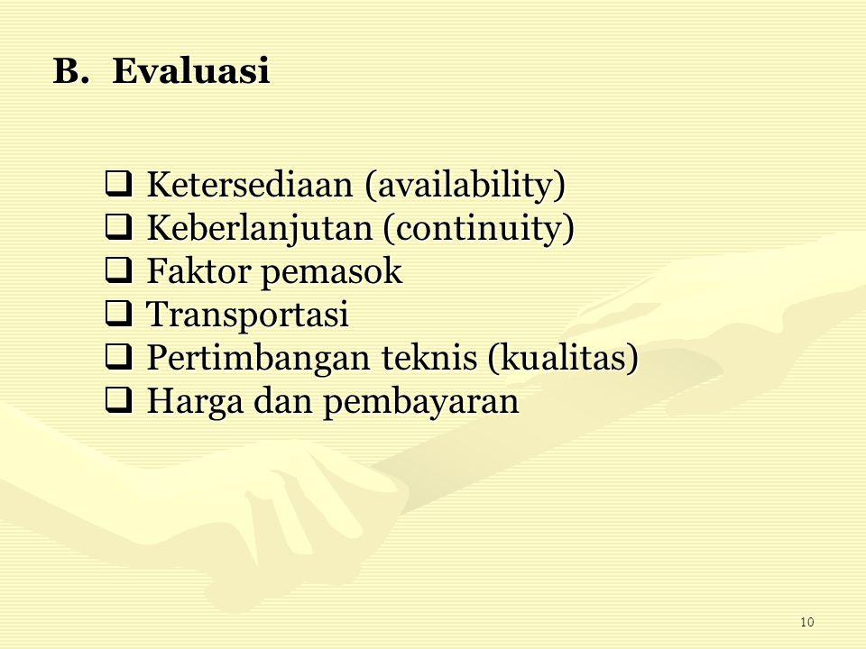 Evaluasi Ketersediaan (availability) Keberlanjutan (continuity) Faktor pemasok. Transportasi. Pertimbangan teknis (kualitas)