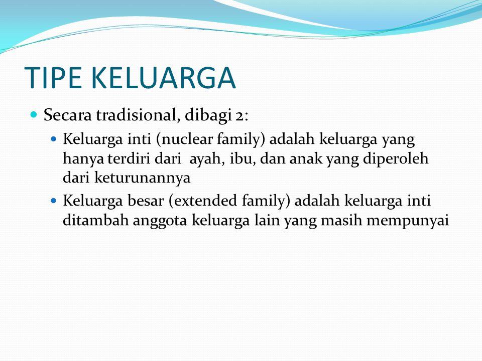 TIPE KELUARGA Secara tradisional, dibagi 2: